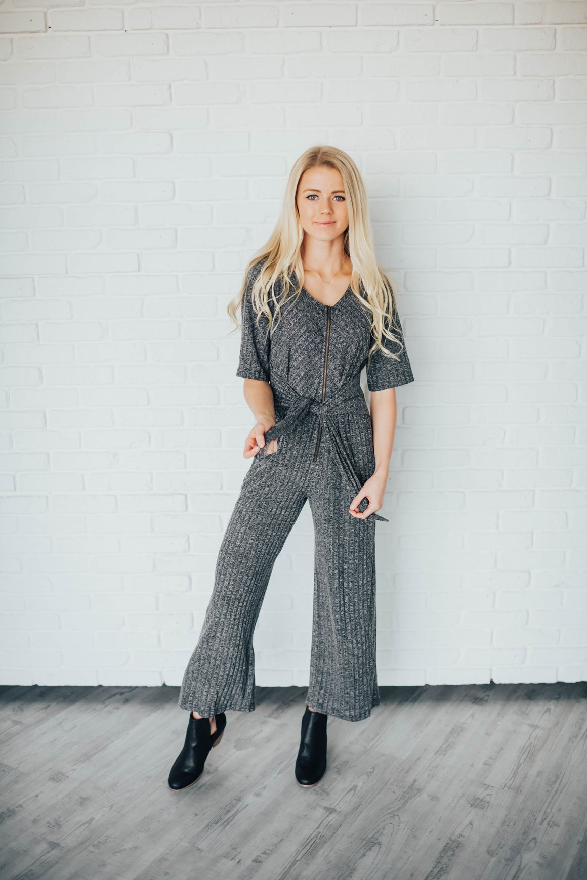 CARISSA JUMPSUIT IN CHARCOAL GREY