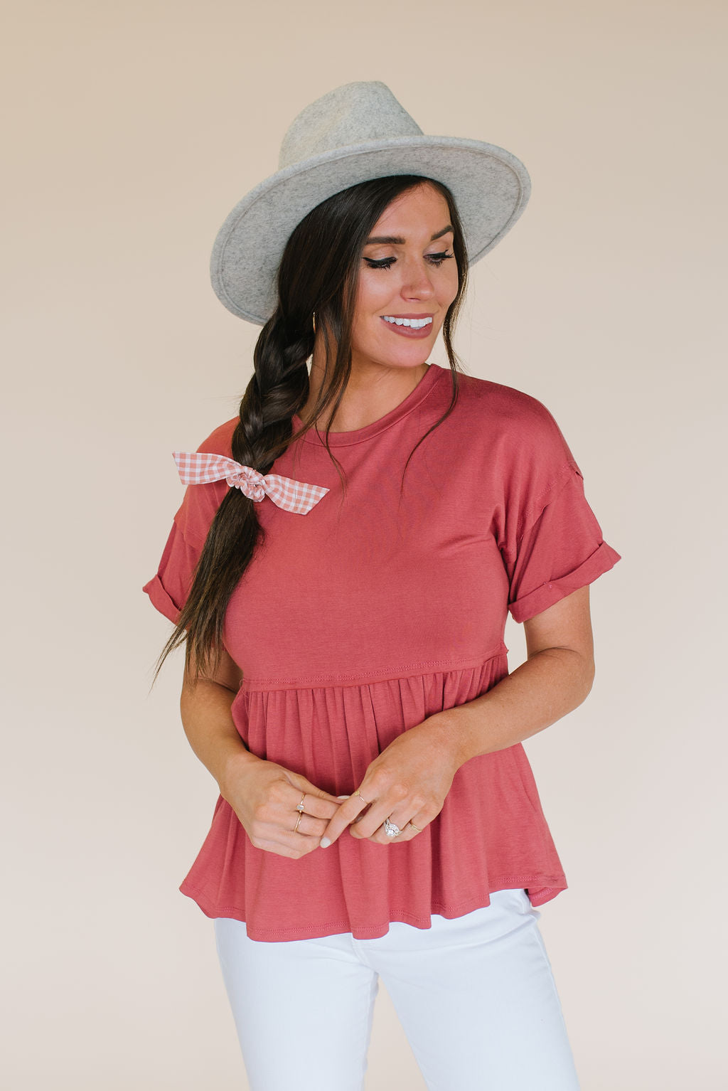 TARA PEPLUM TOP IN DEEP ROSE