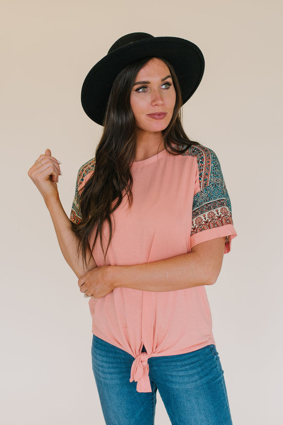 MARY FRONT-TIE TOP IN ROSE