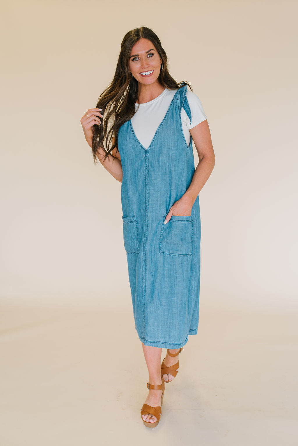 SANDI DENIM OVERALL DRESS