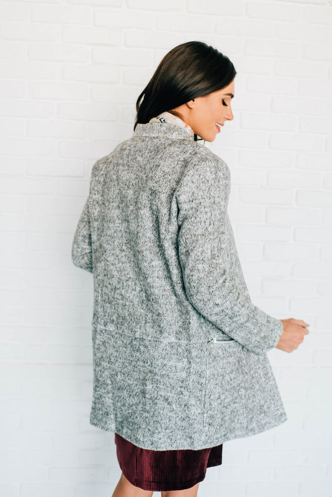 CHANTRY NOTCH COLLAR CARDIGAN IN CHARCOAL