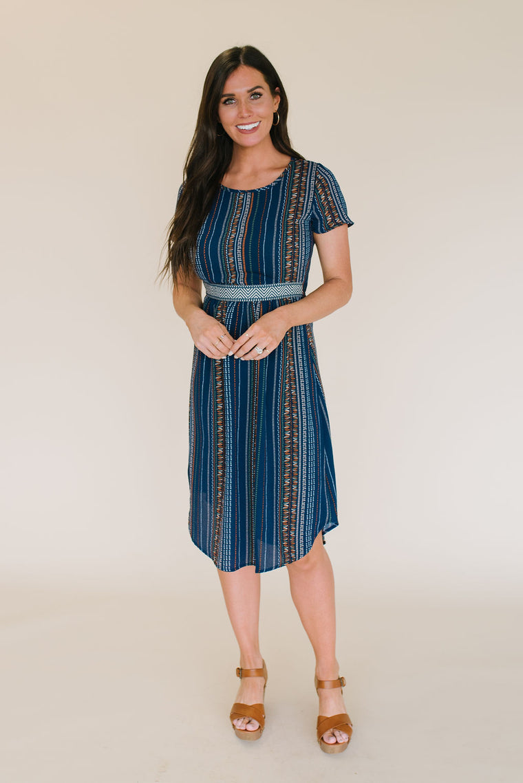 ELINOR MIDI SWING DRESS IN NAVY