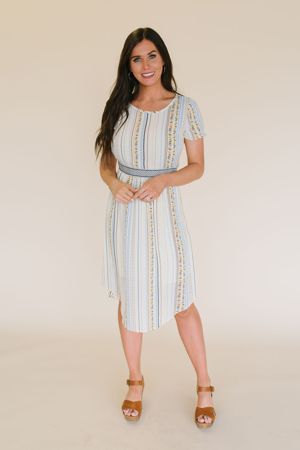 ELINOR MIDI SWING DRESS IN IVORY