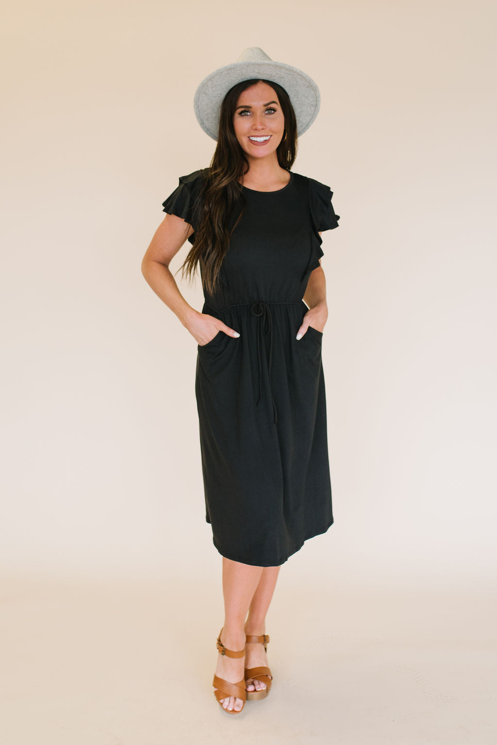 DEBRA RUFFLE SLEEVE MIDI DRESS IN BLACK