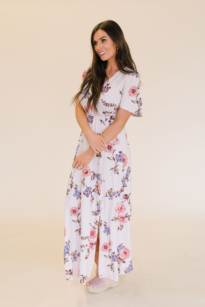 EMI MAXI FLORAL DRESS IN LIGHT PINK