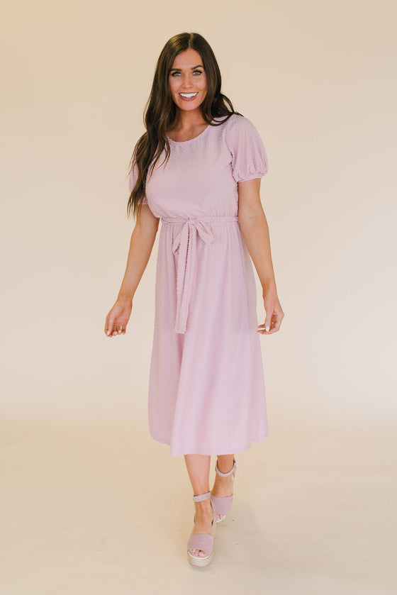 ANNETTE SWISS DOT DRESS IN BLUSH