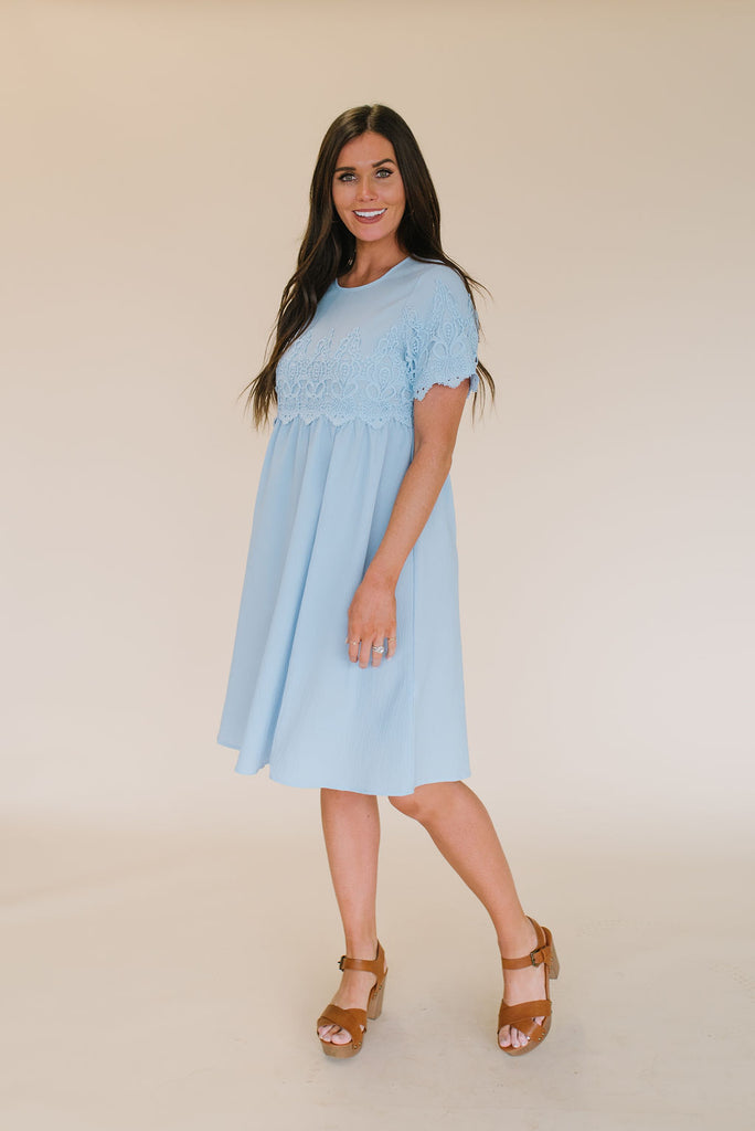 HOLLY MIDI DRESS WITH LACE TRIM IN SKY BLUE