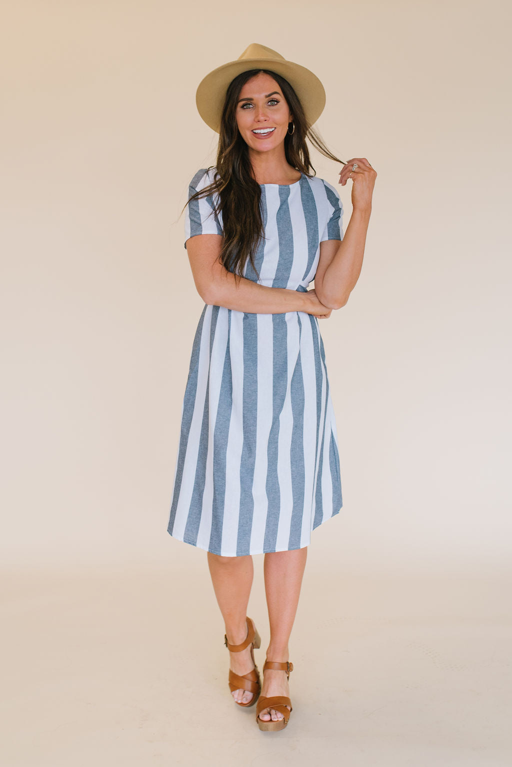 NELLIE MIDI DRESS IN NAVY AND WHITE STRIPES