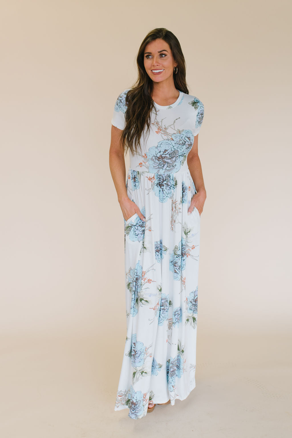 LIZ MAXI DRESS WITH HYDRANGEA'S IN BLUE