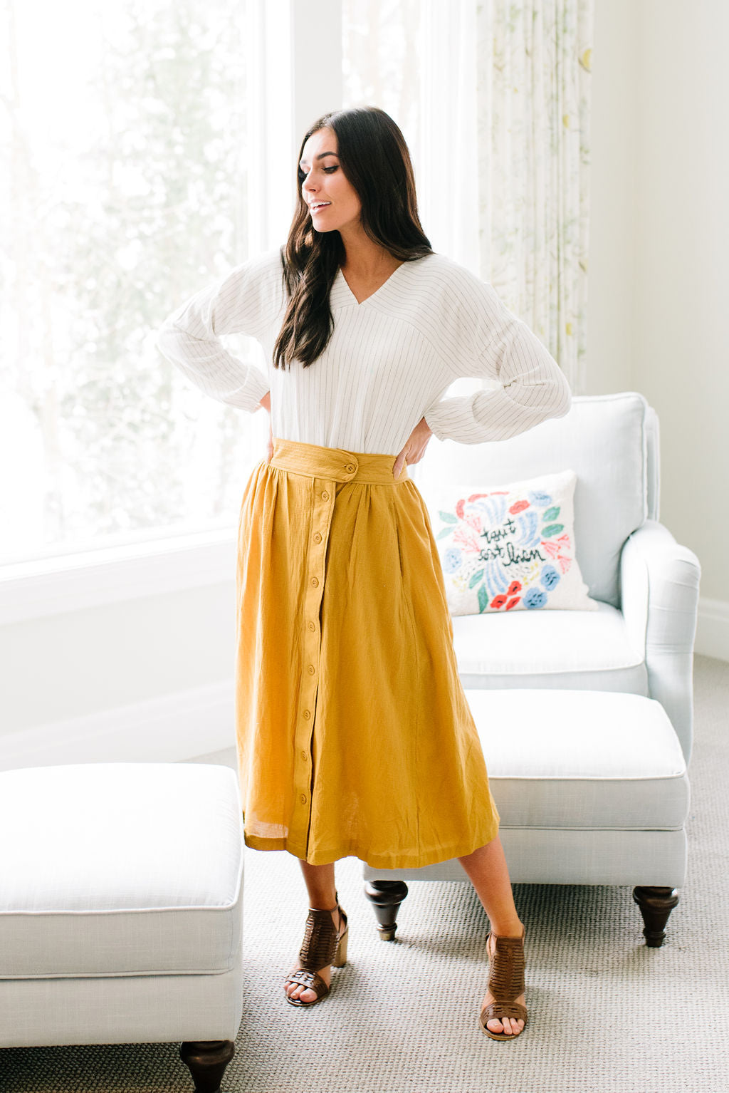 LAUREL MIDI SKIRT IN MUSTARD YELLOW