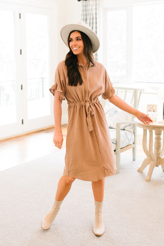 ANNA COLLARED DRESS IN TAN