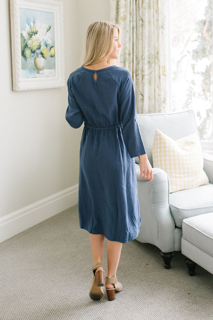 EMMALINE DRAW-STRING DRESS IN BLUE