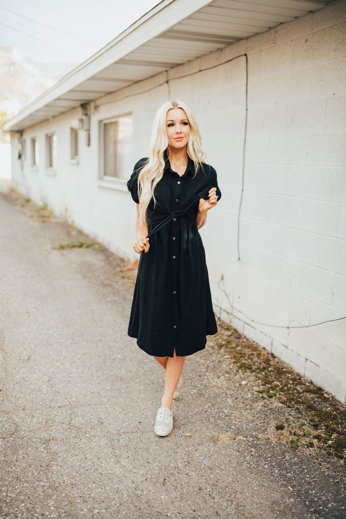 Hannah Front Tie Dress In Black - Dress