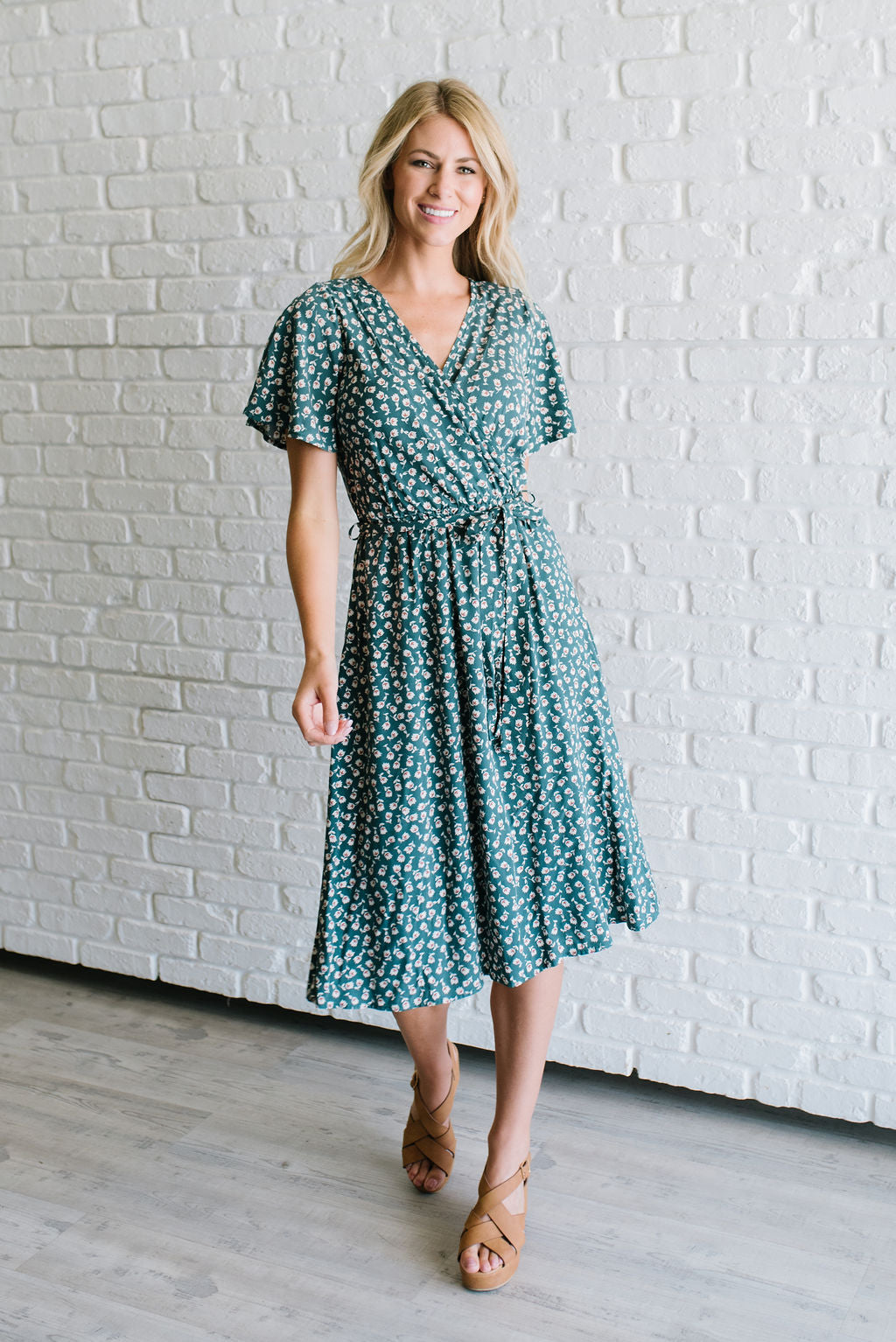 d1b267dc12 JULIA MIDI FRONT WRAP DRESS IN GREEN TULIP PRINT