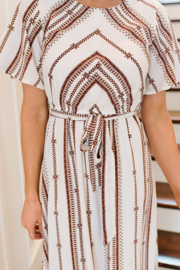 JULIE MAXI DRESS WITH RUST ACCENTS