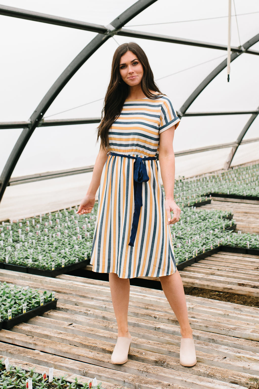 LAYLA MIDI DRESS IN NAVY BLUE AND MUSTARD YELLOW STRIPES