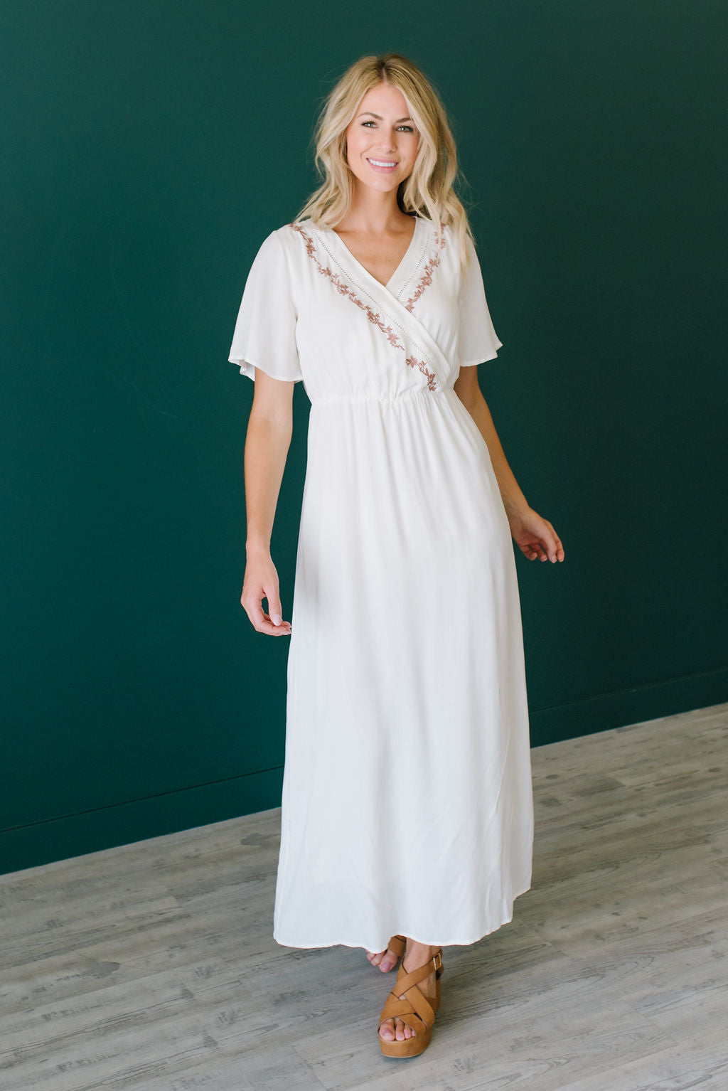 ANGELA MAXI DRESS IN IVORY WITH MAUVE EMBROIDERY