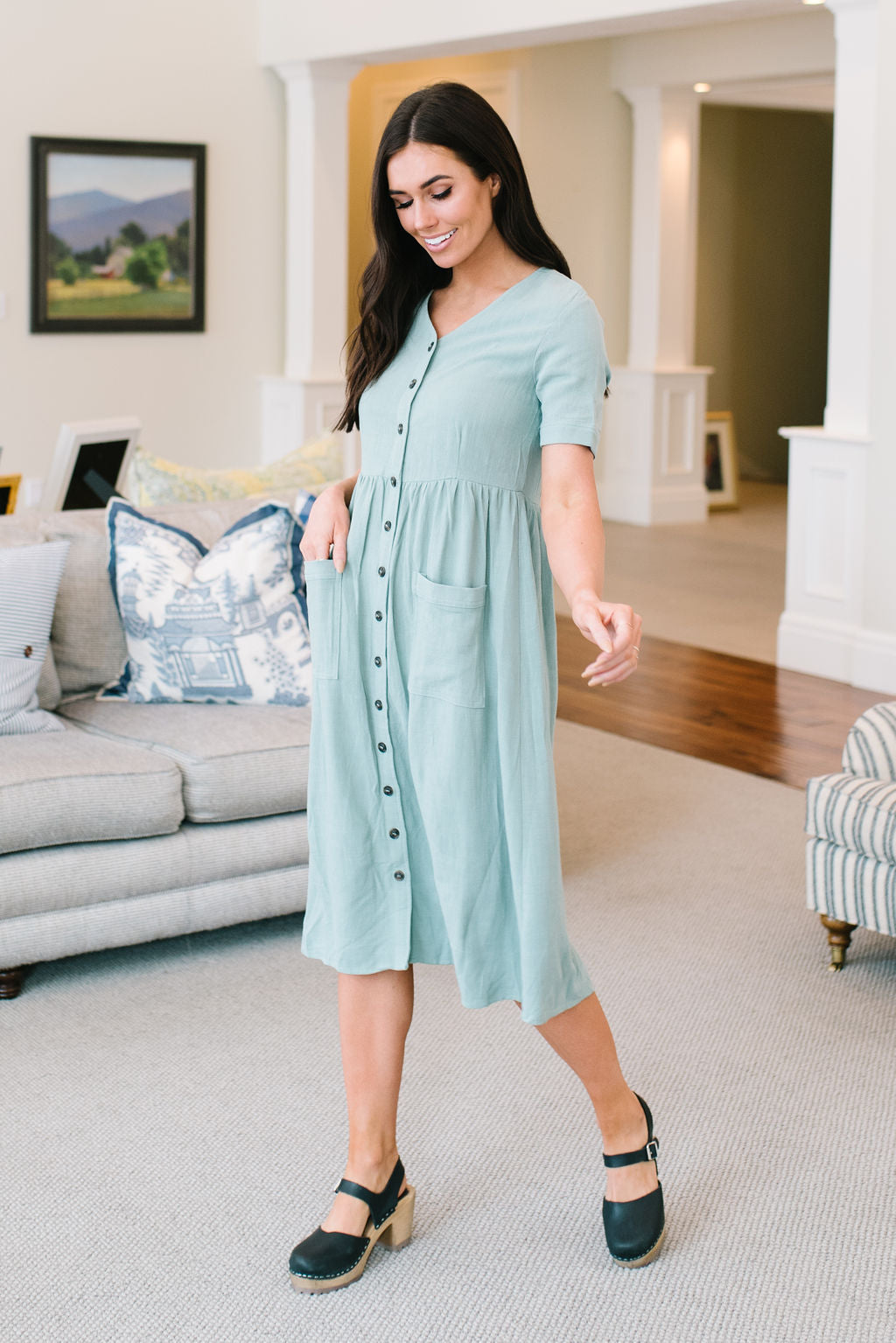 WILLOW BUTTON-UP DRESS IN SAGE
