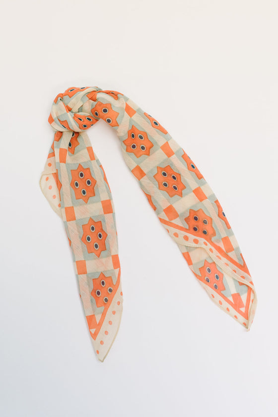 KALEIDOSCOPE BANDANA IN  CORAL AND SAGE