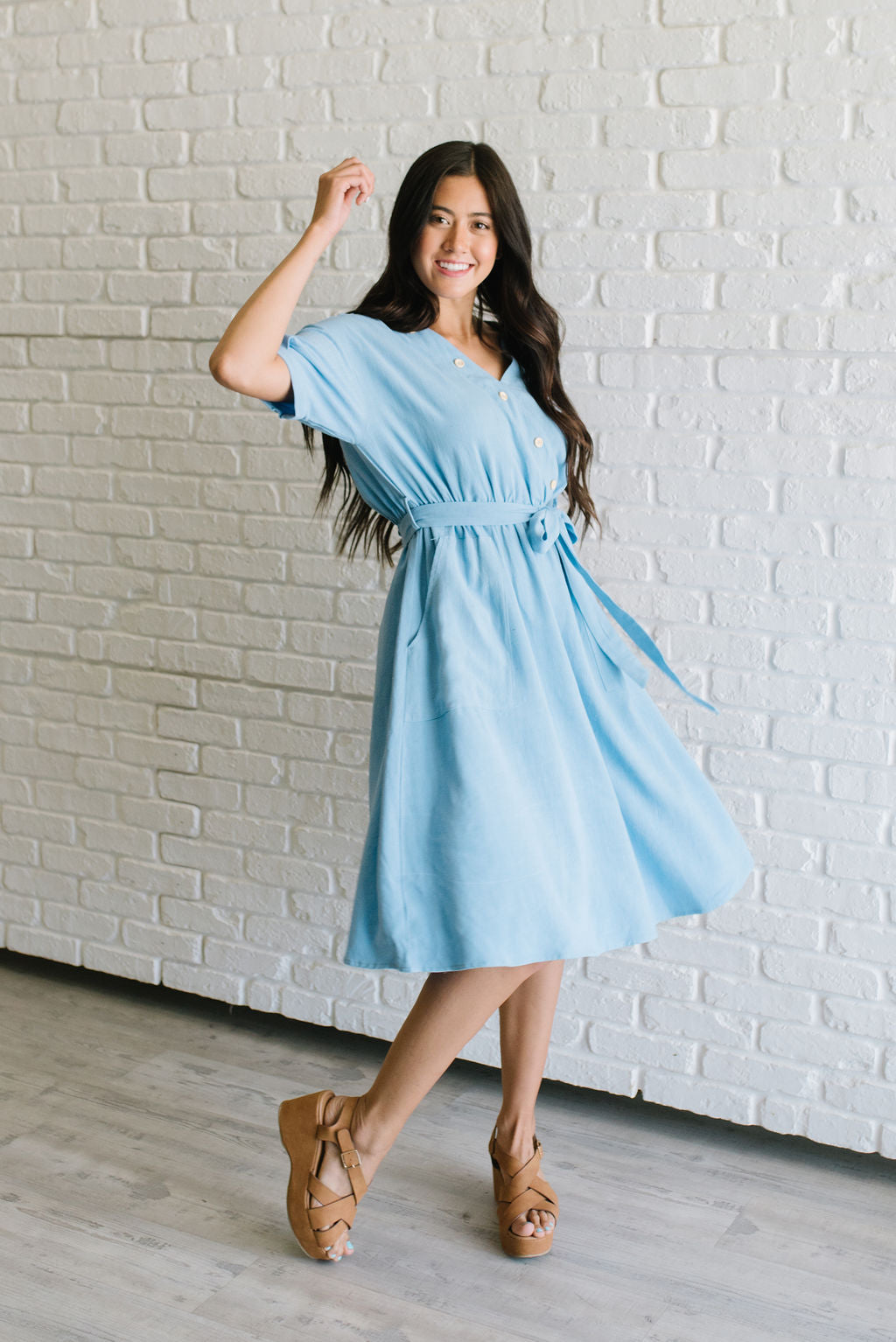 MELINDA MIDI FRONT WRAP DRESS IN BLUE
