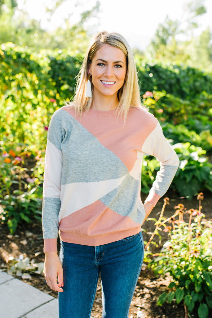 GINA BLOCK SWEATER IN GREY, PEACH AND OATMEAL