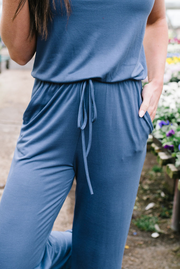 JULIE JERSEY KNIT JUMPSUIT IN ASH BLUE