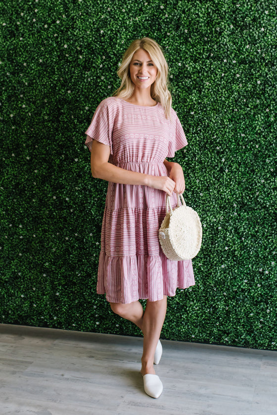 CELESTE MIDI DRESS WITH TIERED SKIRT IN MAUVE