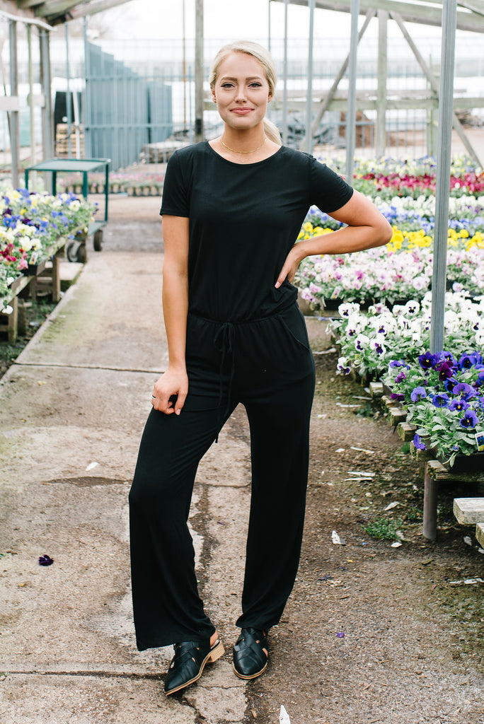 JULIE JERSEY KNIT JUMPSUIT IN BLACK
