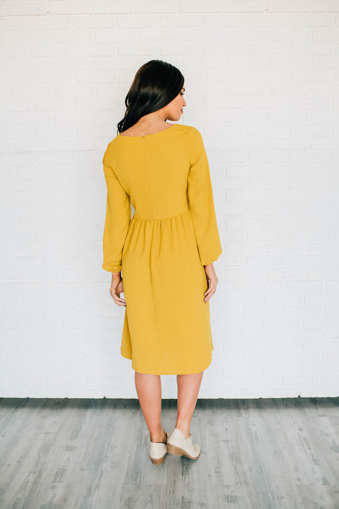 MONICA DRESS IN MUSTARD