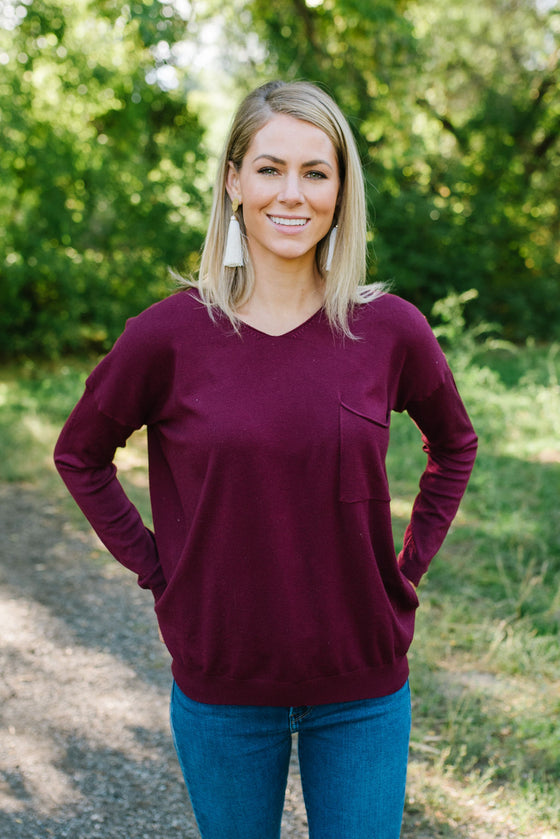 SUSAN SCOOP NECK SWEATER IN MULBERRY