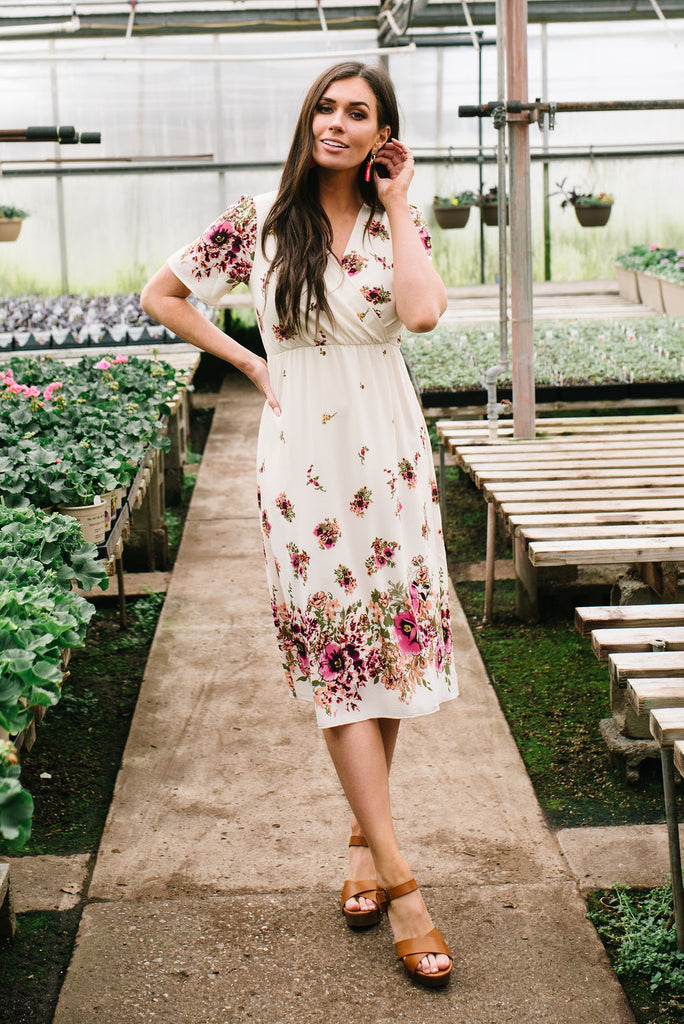 GINA MIDI DRESS IN CREAM WITH LAVENDER FLORAL PRINT