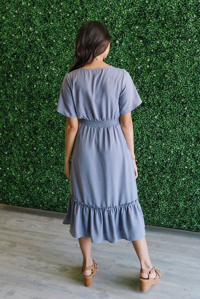 HELEN MIDI DRESS IN DUSTY LAVENDER