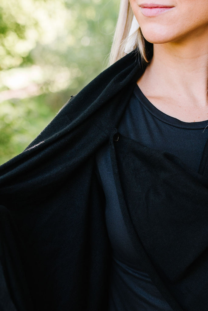 NIKKI COWL-NECK WRAP SWEATER IN BLACK