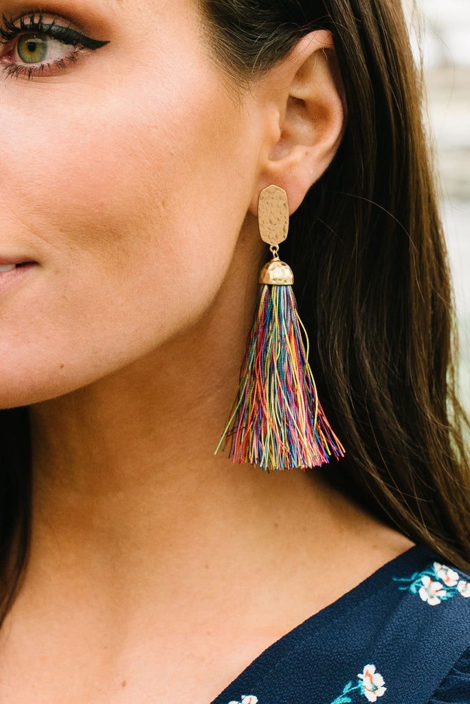 SIMPLY ELEGANT TASSEL DROP-RAINBOW