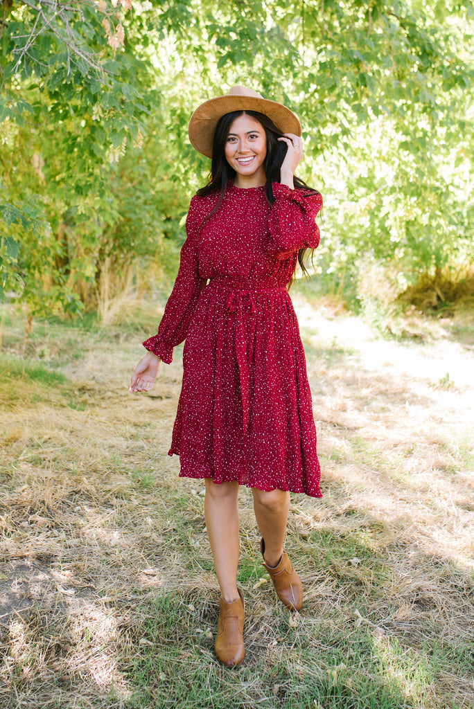 HEATHER MIDI DRESS IN CRANBERRY WITH RUFFLE NECK