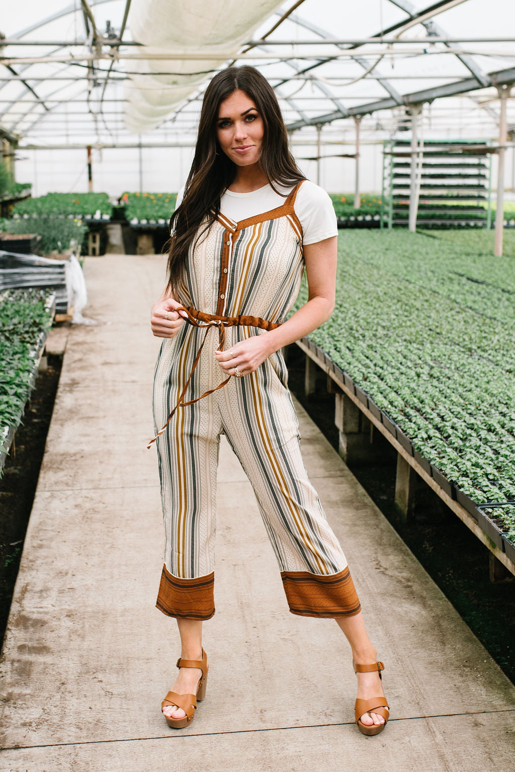 SASHA MULTI-STRIPED JUMPSUIT WITH ADJUSTABLE WAIST