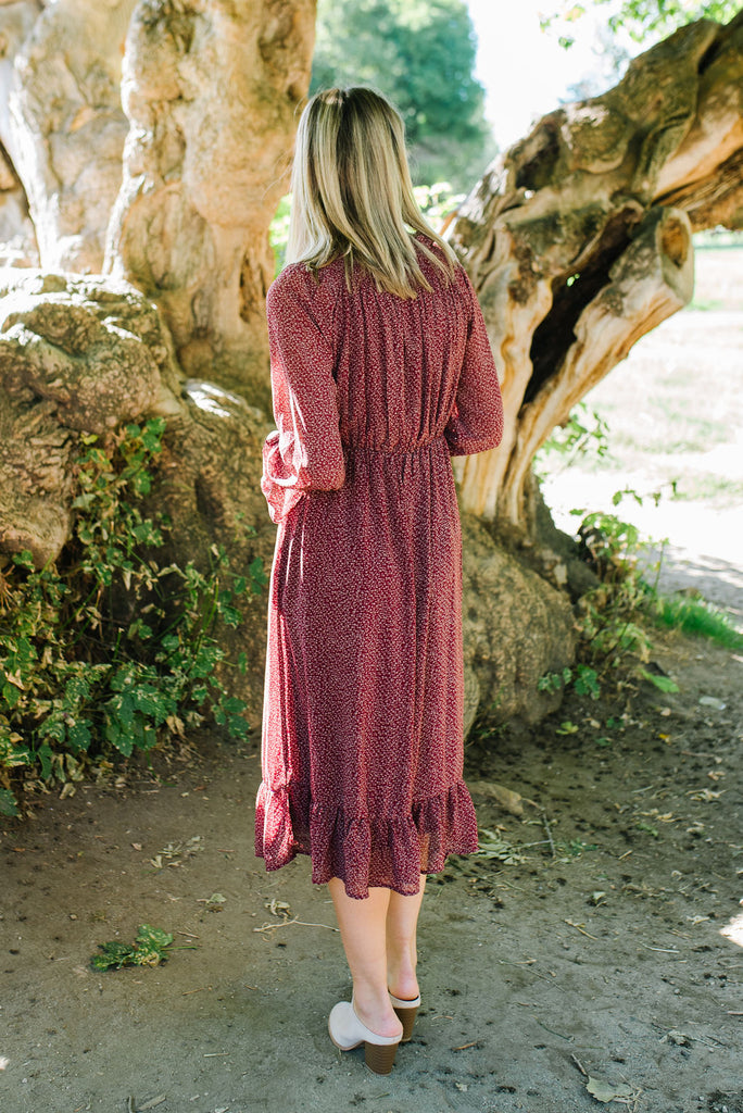 ROBYN DRESS IN BURGUNDY WITH RUFFLES