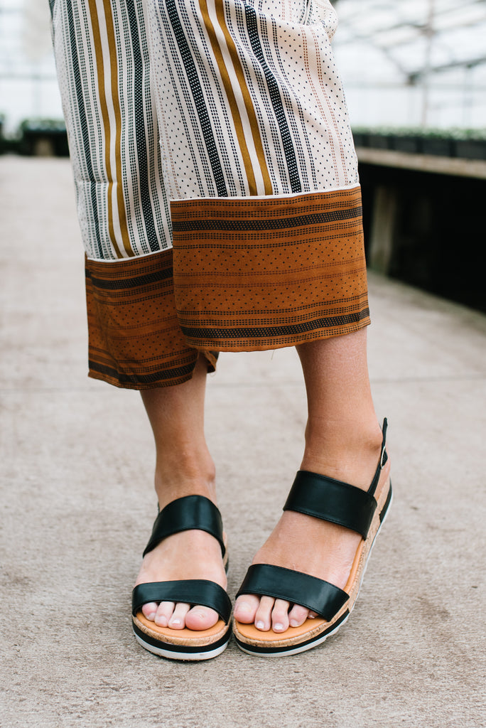 JECCA BANDED SANDAL WITH CORK WEDGE IN BLACK