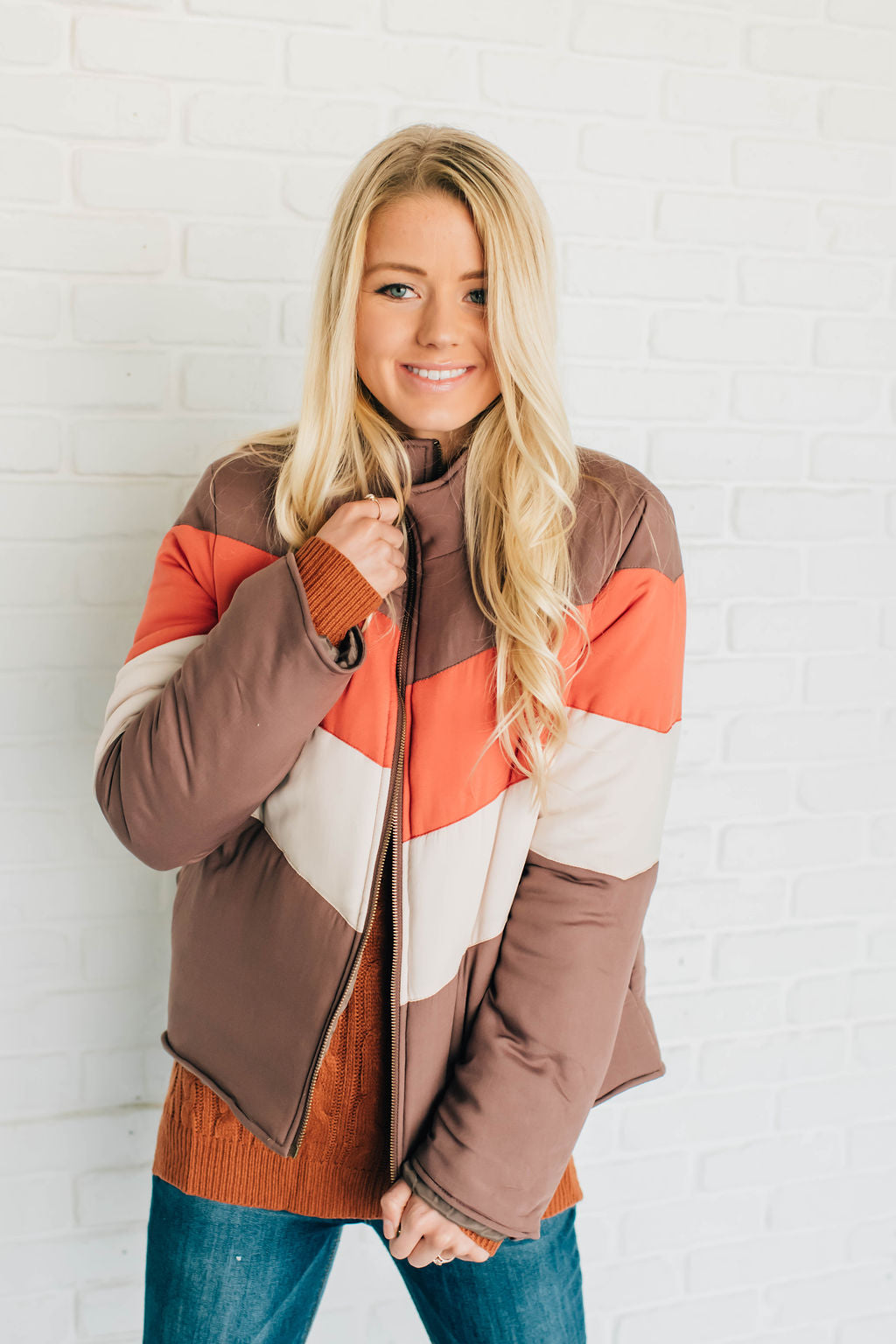 NINA JACKET WITH CHEVRON COLOR BLOCK