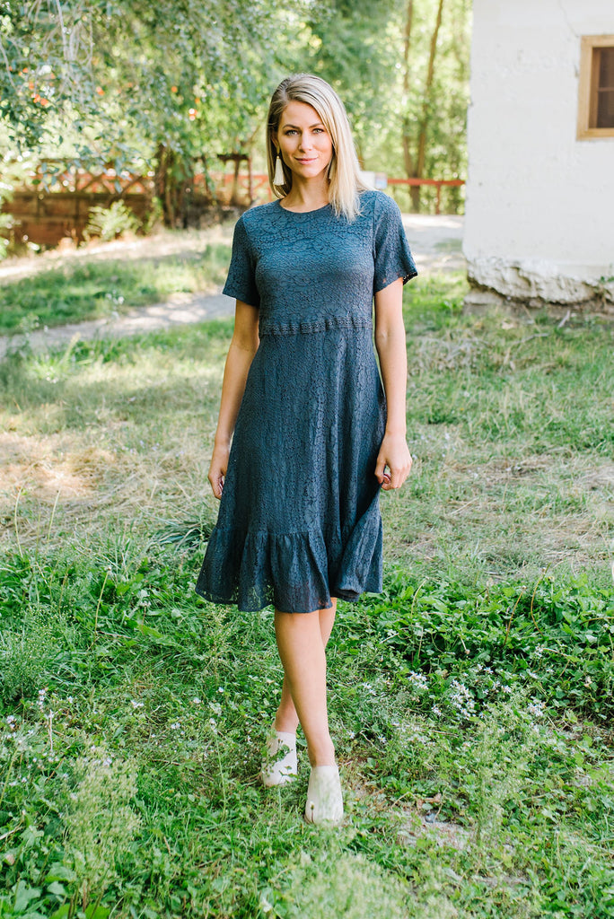 LANA LACE MIDI DRESS IN CHARCOAL