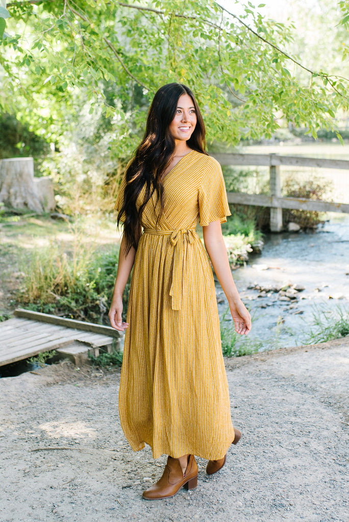 NADINE MAXI FRONT-WRAP DRESS IN MUSTARD