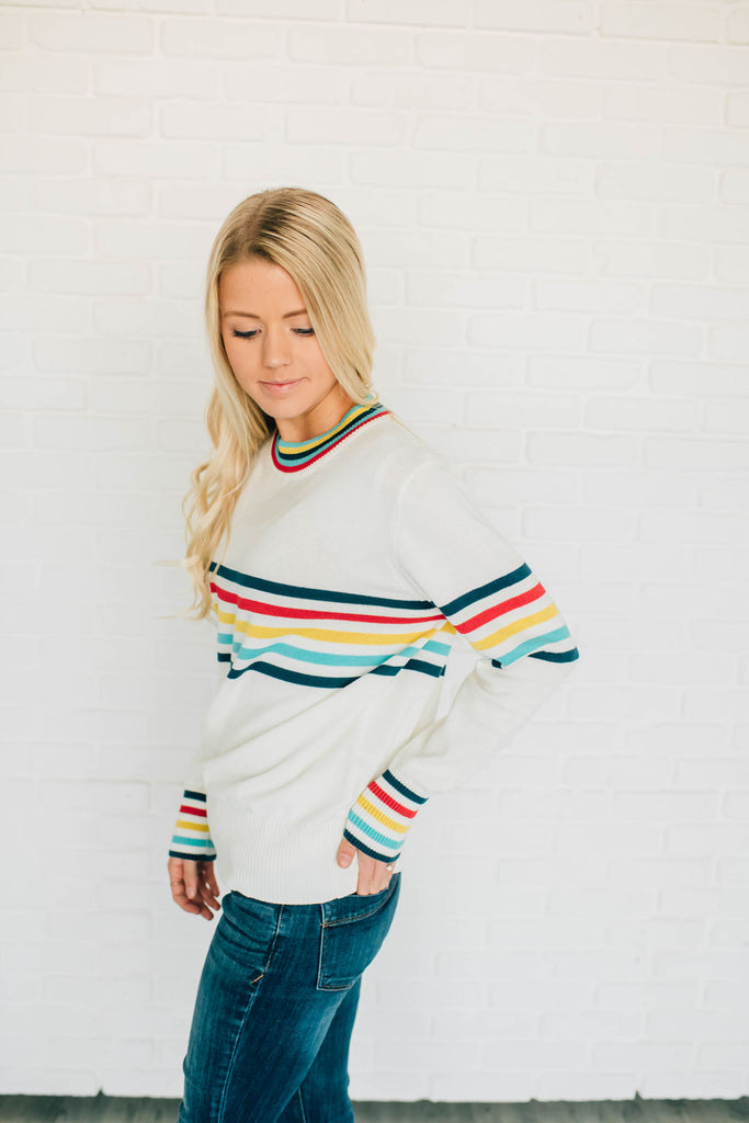 SHANNON STRIPE SWEATER IN CREAM
