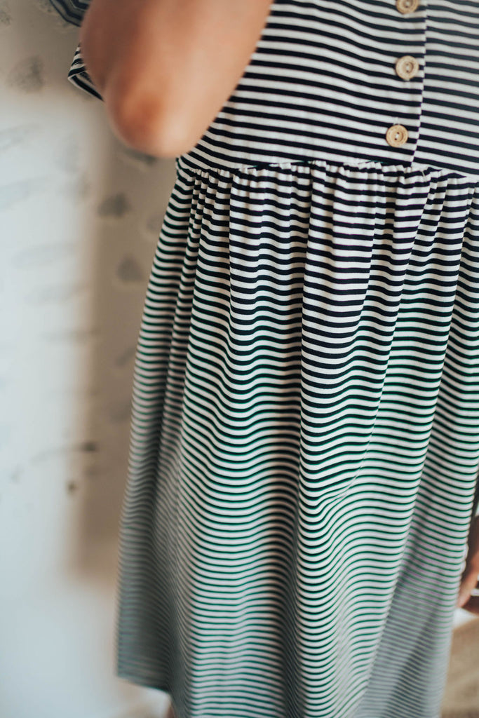 EMI STRIPE DRESS WITH RUFFLE SLEEVE