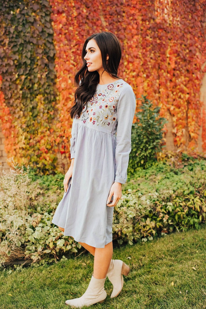 May Embroidered Dress In Slate - Dress