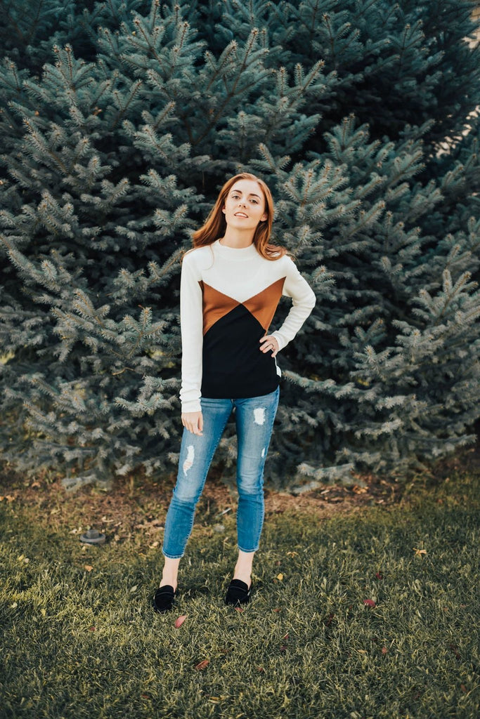 Becky Tri- Color Sweater - Sweater