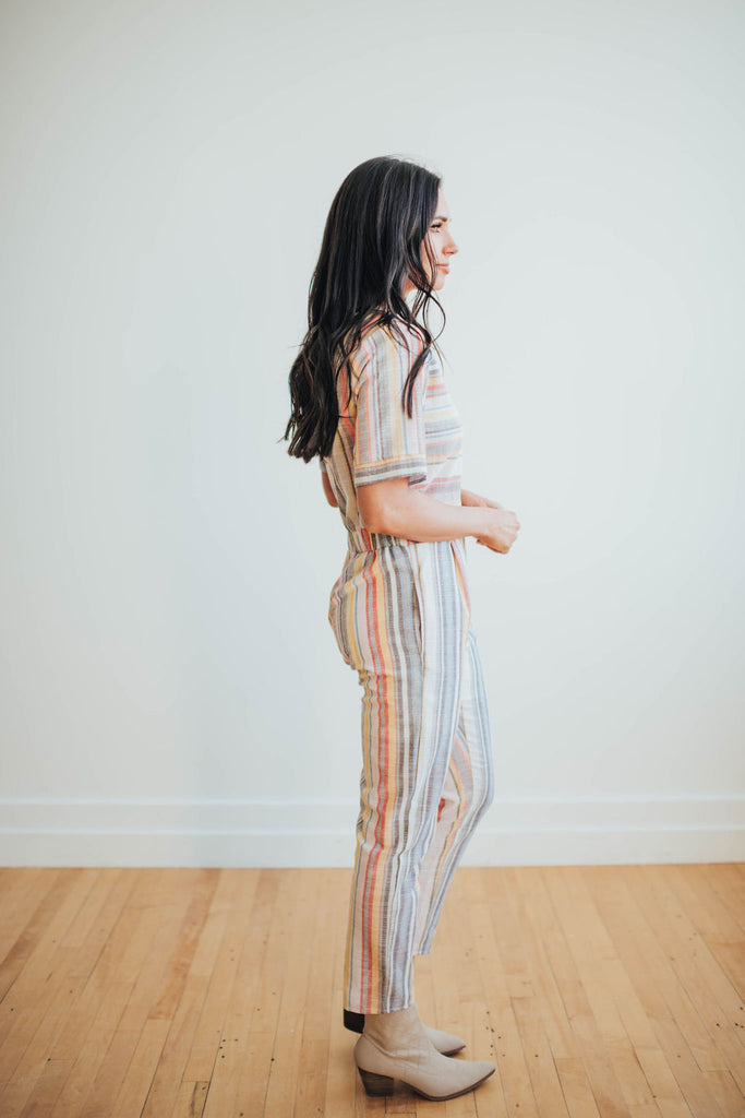 MORGAN JUMPSUIT IN PASTEL STRIPES