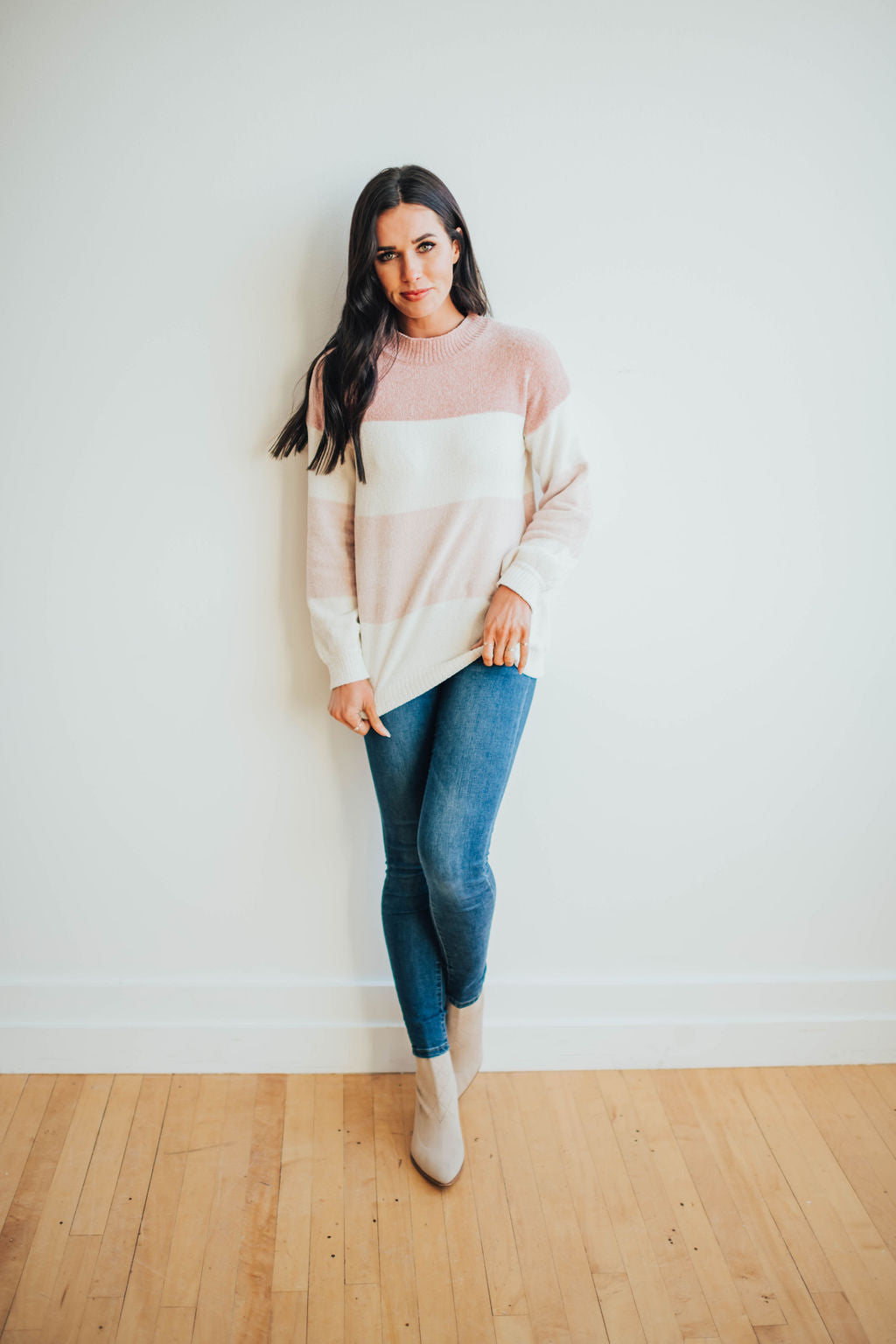 HARPER SWEATER IN BLUSH PINK