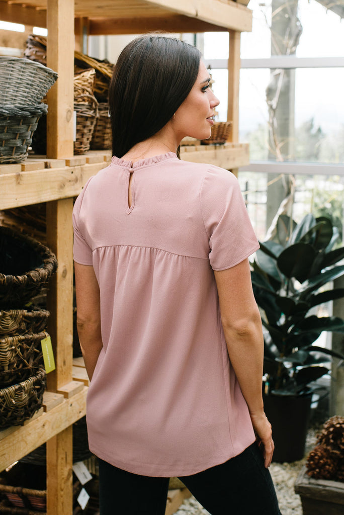 CELINE RUFFLE-NECK TOP IN MAUVE