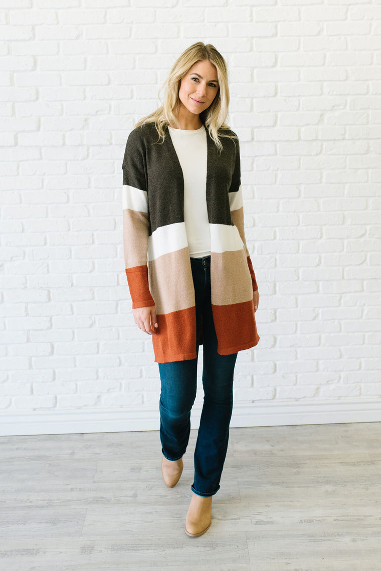 DANIELLE COLOR-BLOCK LONG CARDIGAN