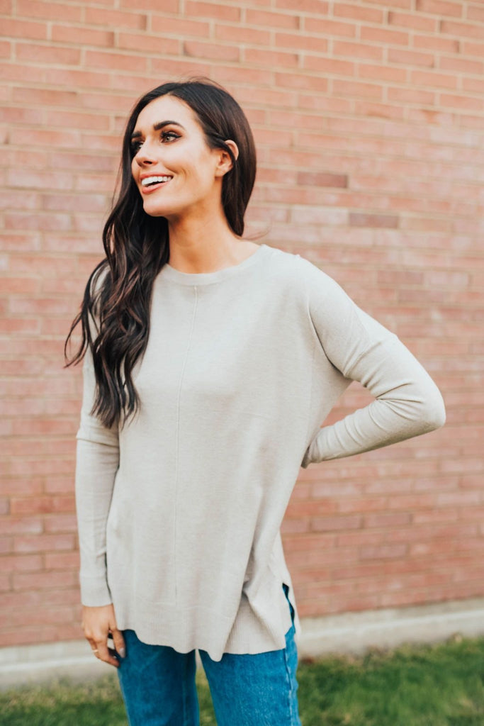 Staci Sweater In Warm Grey - Top